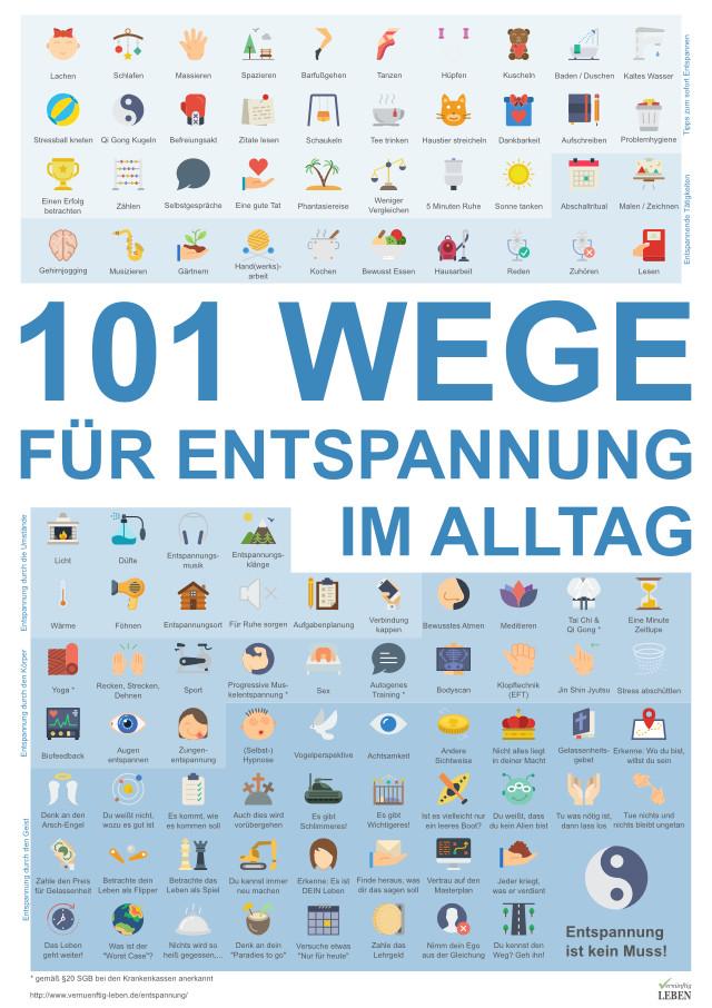 101 Wege für Entspannung im Alltag - Poster